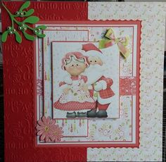 Fabulous design for Christmas. Resized and Printed on white card and cut out what I needed. Mounted onto coloured card and onto own backing papers. Embossing paper. Added pearls and used liquid pearls for black spots on mistletoe.