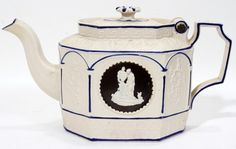 111222: ENGLISH CASTLEFORD-TYPE POTTERY HINGED TEAPOT,