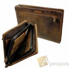 Vintage Look  Konferenzmappe 33cm Echtleder Retro Schreibmappe Din A4 Organizer