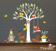 Woodland Oak Tree Wall Decal with Branch and Many Whimsical Animals, Bear, Deer, Fox, Hedgehog, Owls and Birds [MT024]