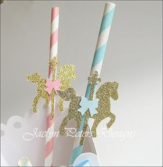 #Carousel, #Merry Go Round, Party #Straws, #Twins Baby #Shower, First Birthday, by #JaclynPetersDesigns