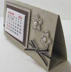 "Standalone calendar in Sahara Sand.  Measurements for this project are cardstock 5 1/2 "" x  8 1/2"" and scored at 3"", 6"", 6 3/4"" and 7 3/..."