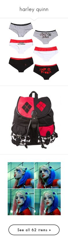 """""""harley quinn"""" by briana-is-hungry ❤ liked on Polyvore featuring underwear, bags, backpacks, accessories, knapsack bag, daypack bag, backpack bags, day pack backpack, rucksack bags and necklaces"""