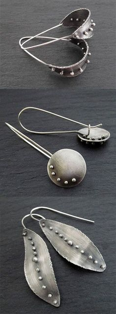 Sterling silver statement earrings, metalwork jewelry Handmade Silver Jewelry, Handmade Sterling Silver, Earrings Handmade, Sterling Silver Pendants, 925 Silver, Sterling Silver Jewelry, Silver Metal, Vintage Jewelry, Onyx Necklace