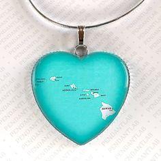 Hawaii Map Pendant Hawaii Necklace Hawaii Jewelry by PendantLab Aqua, Teal, Turquoise, Pendant Jewelry, Pendant Necklace, Map Necklace, Round The World Trip, Creative Colour, Etsy Jewelry