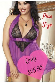 Plus Size Mesh Baby Doll with G-String. Lingerie, Plus Sized, BBW, Big Beautiful Woman, Womens, SSBBW, Clothing, Sexy, Purple, Big Girls, Bedroom