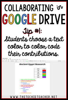 5 ways to avoid disasters when students are collaborating in Google Drive. Tip #1: Have students choose a color font to color code their contributions to the assignment.