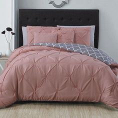 This elegant comforter set features a pintuck design on a solid color in a variety of options. Coordinating shams and decorative pillows finish the bedroom makeover. Set includes: One comforter, t Master Bedroom Interior, Bedroom Wall, Girls Bedroom, Bedroom Decor, Elegant Comforter Sets, Bedding Sets, Pink Comforter Sets, Rose Comforter, Madrid