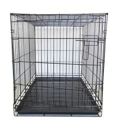 """YML Group SA42G 42"""" Dog Kennel Cage With Bottom Grate, Black"""