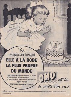 Original Vintage 1950s OMO Little Girls Birthday Cake Black & White French Magazine Ad