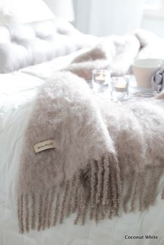 Coconut White: Balmuirin Kid mohair throw makuuhuoneessa Vital Hotel, Mohair Throw, Ikea Interior, Inside A House, Lets Stay Home, Rose Cottage, Winter House, Getting Cozy, Home Bedroom