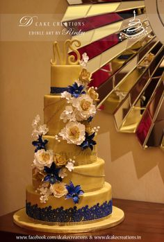 Five Tier Floral Golden Cake - Cake by D Cake Creations™