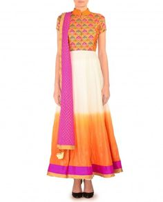Ombre White and Orange Anarkali Suit with Pochampally Bodice - $273