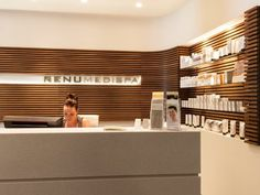 Renu Medispa combines the most advanced cosmetic enhancement procedures in a warm, relaxing environment. Their reception reflects that. Timber Panelling, Reception Areas, Office Interiors, Melbourne, Relax, Projects, Environment, Spa, Desk