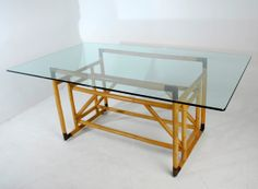 Architectural Bamboo & Brass Dining Table w/Glass Top in the Style of Gabrielle Crespi