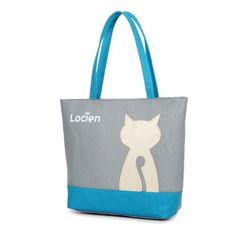 Women Casual Canvas Lovely Cat Pattern Tote Bags Shopping Bags Shoulder Bags