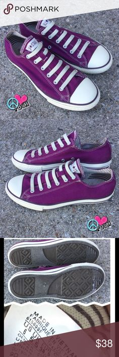 Converse All-Stars  Purple Low Top CHUCKS  Converse All-Stars  Purple Low Top CHUCKS  in Good, Clean, Gently Loved Condition . M6 or W8  ❌❌ NO TRADE ❌❌ PRICE IS FIRM UNLESS BUNDLED Converse Shoes Sneakers