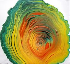 Acrylic tree ring pour with yellow, red, orange, green, white and black. Canvas - wood 15 x 20