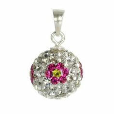 SilberDream Glitter Pendant Swarowski Elements white with flower, 925 Sterling Silver Charms Pendant with Lobster Clasp for Charms Necklace GSH301 SilberDream Tinsel. $14.95