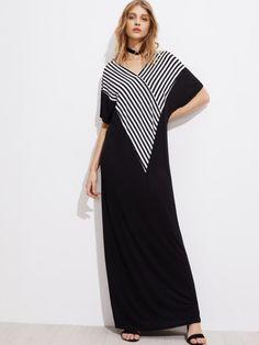 Контрастное модное платье с V-образным вырезом