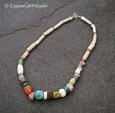 Raku/ porcelain beaded necklace w/ artisan by CopperLarkStudio