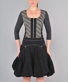 Look at this #zulilyfind! Black & Gray Zip-Up Scoop Neck Dress by Dzhavael Couture #zulilyfinds