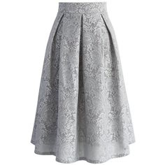 Chicwish Floral Refinement Airy Pleated Skirt in Grey (680 ARS) ❤ liked on Polyvore featuring skirts, grey, grey skirt, grey lace skirt, pleated skirt, floral skirt and fancy skirts