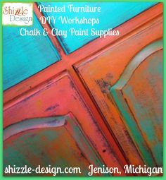 Shizzle Design buy American Paint Company retailer Michigan chalk clay turquoise orange whimisical funky colors painted furniture The Oak Cabinet that Caused an Accident Gets a Colorful Funky Junk Makeover with Vintage Hooks, Reclaimed Barnwood and my Daughter's Belt http://shizzle-design.com/2014/09/the-oak-cabinet-that-caused-an-accident-gets-a-colorful-funky-junk-makeover-with-vintage-hooks-reclaimed-barnwood-and-my-daughters-belt.html