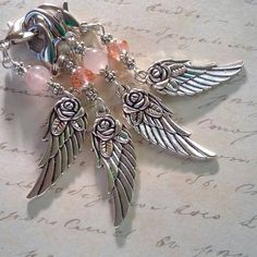Rose Quartz Angel Wing Crystal Purse Charm Guardian by myVardo Work Handbag, Clip On Charms, Great Christmas Gifts, Faceted Crystal, Pet Collars, Silver Beads, Or Rose, Gemstone Beads, Rose Quartz