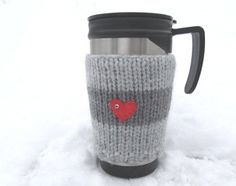 Christmas Coff Cozy, Knitted Grey Mug Cozy,Grey striped mug/ cup cosy with red heart, ideal valentines gift, Knitted Boot Cuffs, Knit Boots, Grey Mugs, Wellies Boots, Mug Cozy, Grey Stripes, Baby Knitting, Valentine Gifts, Gifts For Him