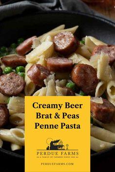 Bratwurst Recipes, Sausage Recipes, Pork Recipes, Real Food Recipes, Recipes With Brats, Cooking Recipes, Recipies, Easy Penne Pasta Recipes, Pasta Dinners