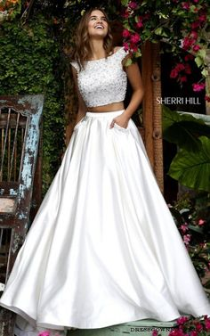 #Cap Sleeve Sherri Hill 50088 Ivory Two Piece Prom Dress [SH-50088-Ivory] - $375.00 : 2015 Dress Gown Store|DressGownStore.com