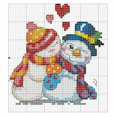 Snowmen cross stitch or tapestry pattern charts Cross Stitch Christmas Ornaments, Xmas Cross Stitch, Cross Stitch Needles, Cross Stitch Cards, Christmas Cross, Cross Stitching, Snowman Cross Stitch Pattern, Counted Cross Stitch Patterns, Cross Stitch Designs