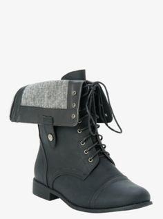 Fold-Over Tweed Combat Boots (Wide Width)