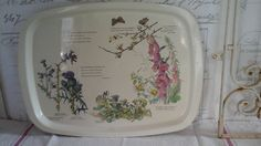 Vintage Metal Serving Tray Edith Holden...The Country Diary of an Edwardian Lady...Botanical tin Tray...Flower decor tin serving tray... by ImagedeVintage on Etsy