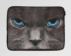 Blue Eyes Cat Tropical Leaves Laptop Sleeve Case LSC-0041