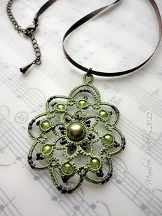 Rotation tatted pendant in green | Flickr - Photo Sharing!