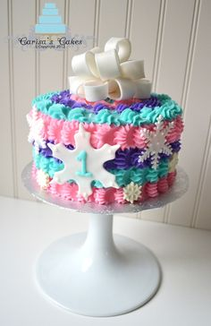 "Winter ""ONE""derland -- First Birthday - Cake made for a little girl turning one in the month of December. Description from pinterest.com. I searched for this on bing.com/images"