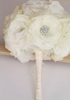 Satin and crystal brooches bridal bouquet