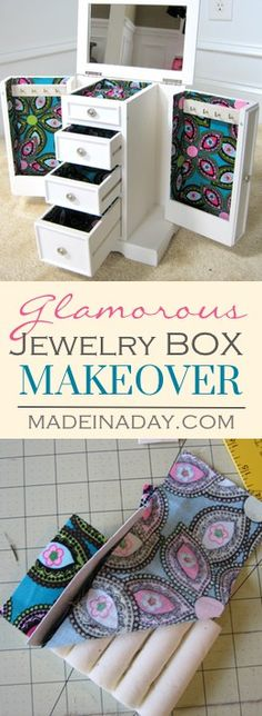 Glamorous Jewelry Box Makeover, Makeover you old jewelry box with this easy tutorial! Decoupage fabric, Mod Podge,  via…