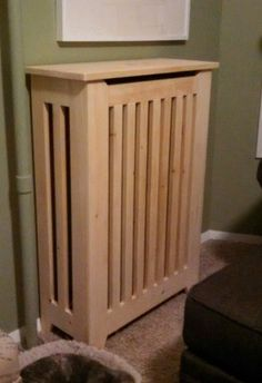 Energy-Efficient Radiator Cover: 10 Steps (with Pictures) Home Radiators, Cheap Renovations, Home Remodeling Diy, Diy Furniture Projects, Home Projects, Wall Heater Cover, Modern Radiator Cover, Headboard Cover, Houses