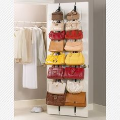 Purse Rack - Designed to hang flat on a door or wall, they features adjustable hooks that hold up to 8 pounds each, and each holds 8 handbags or other accessories.