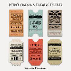 Varias entradas vintage de cine y teatro Vector Gratis