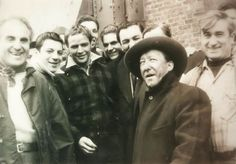 "Marlon Brando with crew members on the set of ""On The Waterfront"" Circa 1954."