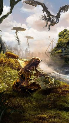 Horizon: Zero Dawn - Aloy You are in the right place about Video Games poster Here we offer you the Background, Fantasy, Wallpaper, Fantasy Art, Video Game Art, Gaming Wallpapers, Horizon Zero Dawn Wallpaper, Pictures, Dawn
