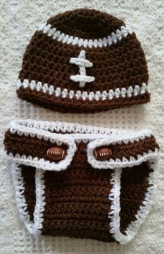 Dress up your little football fan in this cute diaper cover and matching football beanie hat. Hand crocheted in 100% acrylic yarn. Machine wash and dry, gentle cycle. Made-to-order to fit sizes newbor