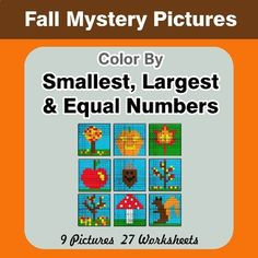 Autumn Mystery Pictures / Color By Number. Comparing Numbers: Circle the largest number in each row. Color By Answer. (9 Worksheets) Circle the smallest number in each row. Color By Answer. (9 Worksheets) Circle the equal numbers in each row. Color By Answer. (9 Worksheets) 9 Mystery Pictures with 2... Money Worksheets, Number Worksheets, Pythagorean Theorem, Algebraic Expressions, Fall Coloring Pages, Order Of Operations, Number Words, Multiplication Facts, Fractions