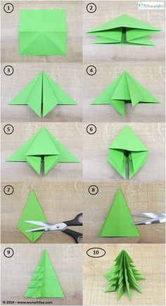 LEARN TO DRAW - DIY paper ideas with tutorials for decorations made only from paper. - DIY paper make DIY origami Christmas decorations together! Origami Christmas Tree, Christmas Tree Decorations, Xmas Trees, Christmas Lights, Christmas Ideas, Origami Ornaments, Christmas Garden, Paper Ornaments, Modern Christmas