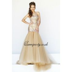 Gold Strapless Long Mermaid Evening Dress With Sequins