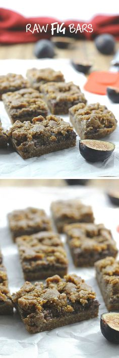 Raw Fig Bars - a delicious and healthy snack recipe using fresh figs for the filling (sub raw coconut nectar for the dates in the crust) Desserts Crus, Raw Vegan Desserts, Raw Vegan Recipes, Vegan Treats, Paleo Dessert, Paleo Vegan, Vegetarian, The Healthy Maven, Healthy Bars